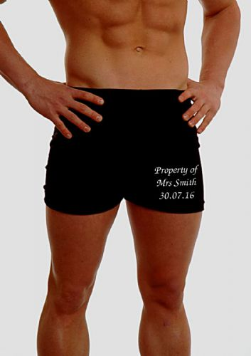 PERSONALISED MENS HIPSTER BOXER SHORTS - EMBROIDERED - WEDDING / ANNIVERSARY GIFT - ON THE LEG
